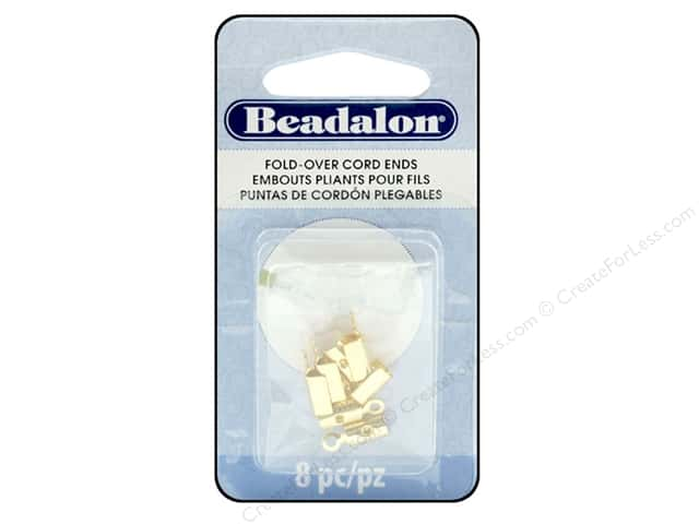 Beadalon Cord Ends Fold Over 4.6 mm Gold 8pc