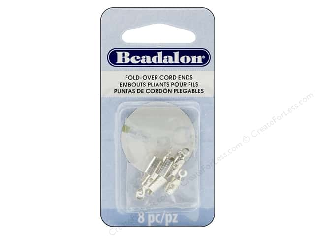 Beadalon Cord Ends Fold Over 4.6 mm Silver Plate 8 pc