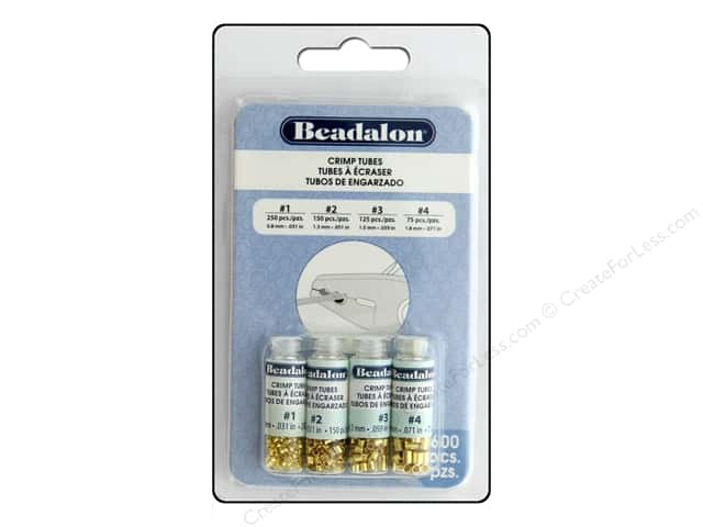 Beadalon Crimp Tubes Value Pack Size 1 - 4 Gold Plated 600 pc.