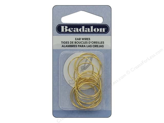Beadalon Ear Wires Beading Hoops Small Gold 14 pc