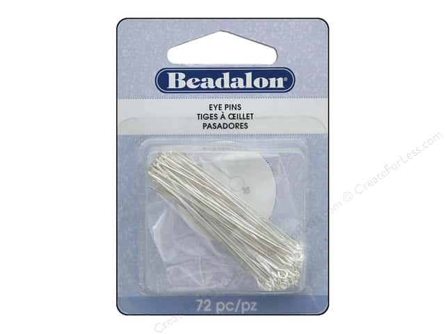 Beadalon Eye Pins 0.7 mm x  2 in. Silver Plated 72 pc.