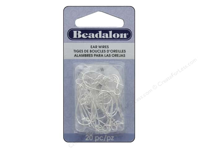 Beadalon Ear Wires Kidney 25 mm Silver Plated 20 pc.