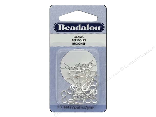 Beadalon Clasp Hook & Eye Small Silver Plated 13 Sets