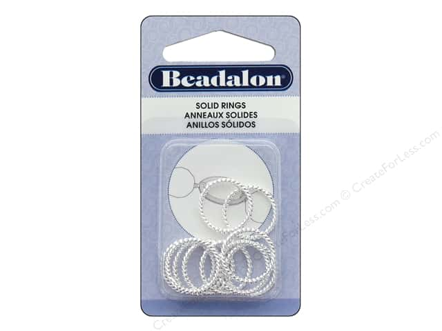 Beadalon Solid Rings Twist 16 mm Silver 10 pc.