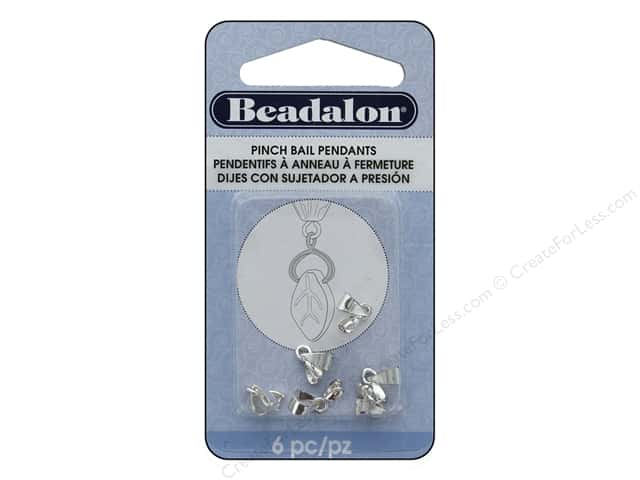 Beadalon Bails Pendant Pinch 9mm Silver Plated 6pc