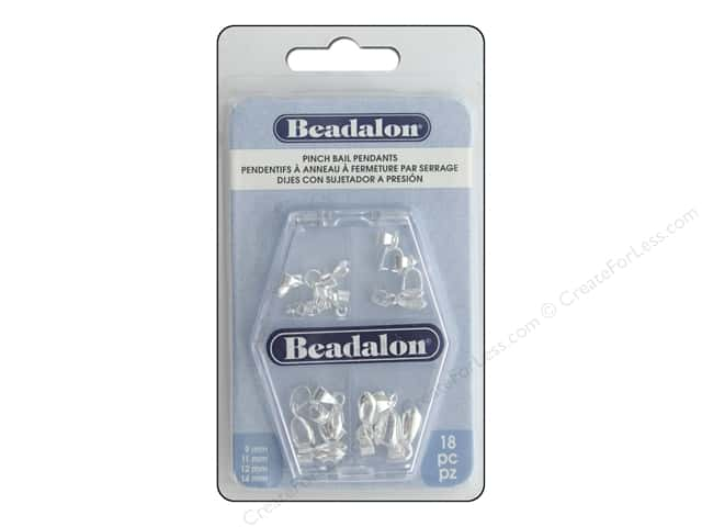 Beadalon Bails Pendant Pinch Variety Pack Silver Plate 18pc