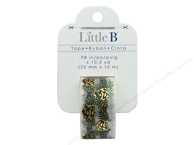Little B Paper Tape 25 mm Gold Foil Snow Pine Cones