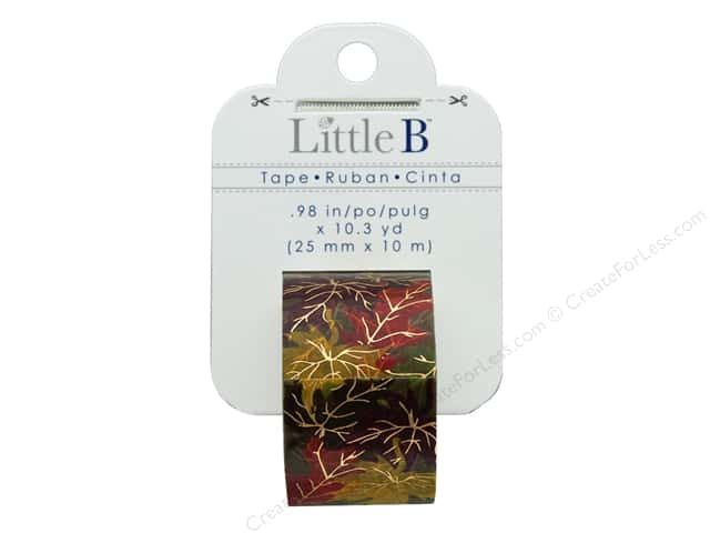 Little B Paper Tape 25 mm Gold Foil Autumn Leaves