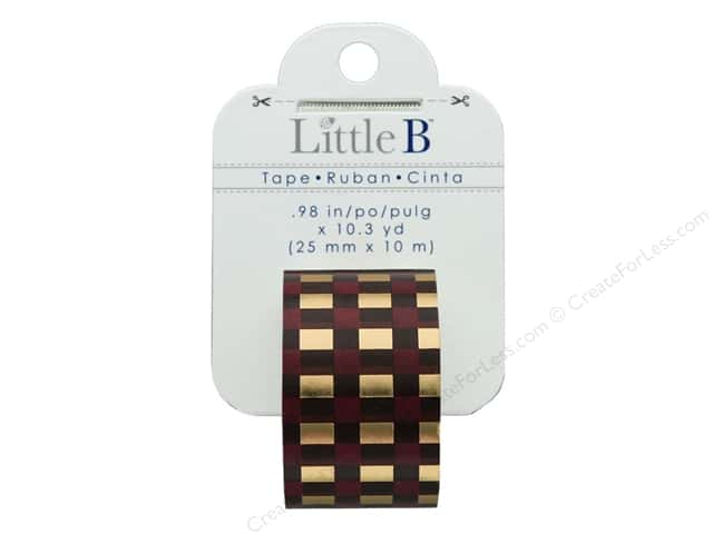 Little B Paper Tape 25 mm Gold Foil Autumn Plaid