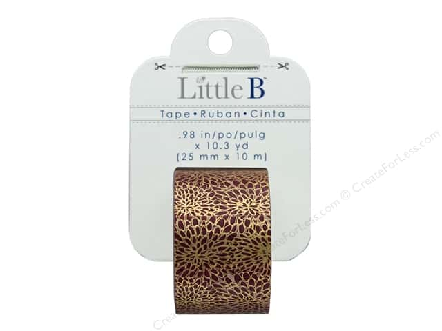 Little B Paper Tape 25 mm Gold Foil Mums Red