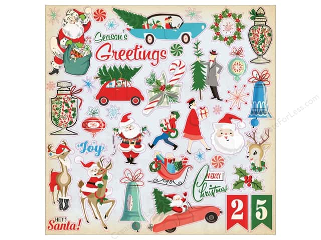 Carta Bella Collection A Very Merry Christmas Sticker 12 x 12 in. Elements (15 pieces)