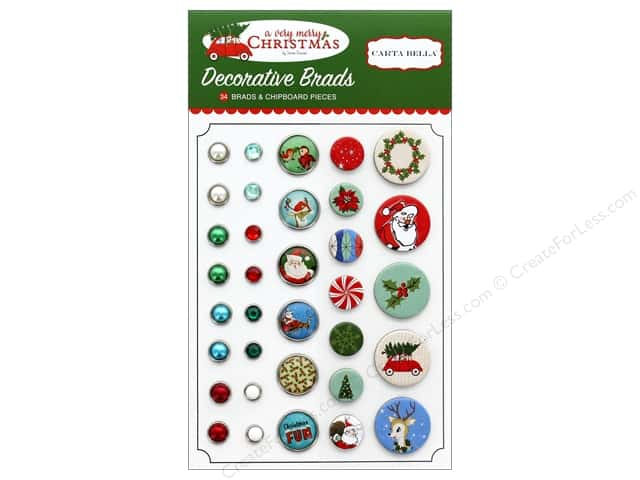 Carta Bella Collection A Very Merry Christmas Deco Brads