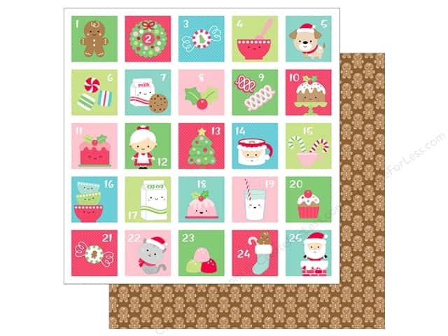Doodlebug Collection Milk & Cookies Paper 12 in. x 12 in. Jolly Gingerbread (25 pieces)