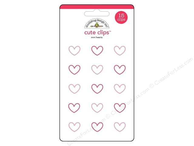 Doodlebug Collection Milk & Cookies Cute Clips Mini Hearts (6 sets)