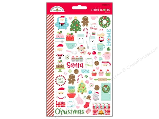 Doodlebug Collection Milk & Cookies Sticker Mini Icons (12 sets)