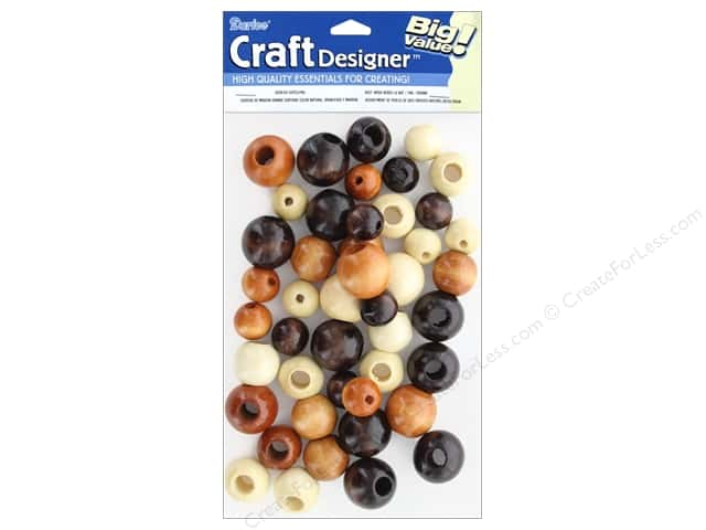 Darice Large Round Wood Beads 45 pc. Assorted Natural, Tan and Brown Colors