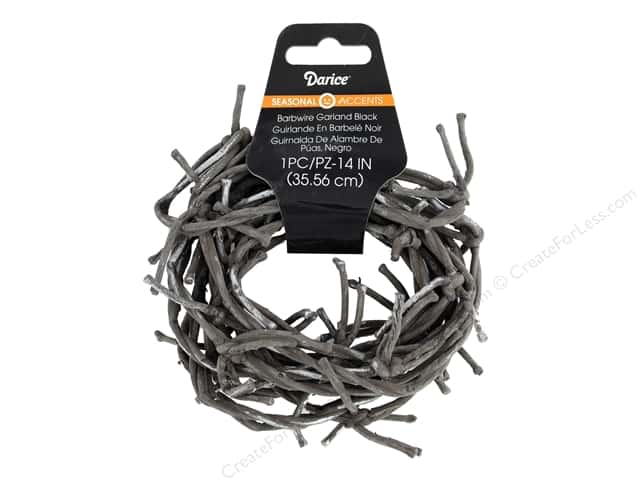 Darice Barbwire Garland 14 in. Black