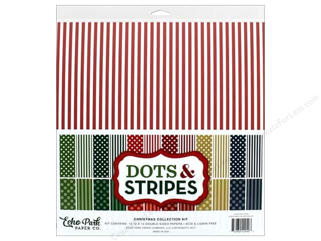 Echo Park Collection Dots & Stripes Christmas Collection Kit 12 in. x 12 in.