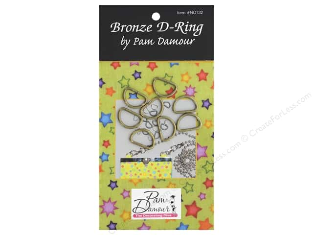 Pam Damour D Rings .5 in. Brass 8 pc