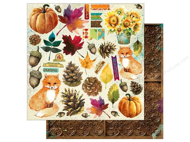 Bo Bunny Dreams Of Autumn Paper 12 in. x 12 in. Noteworthy (25 pieces)