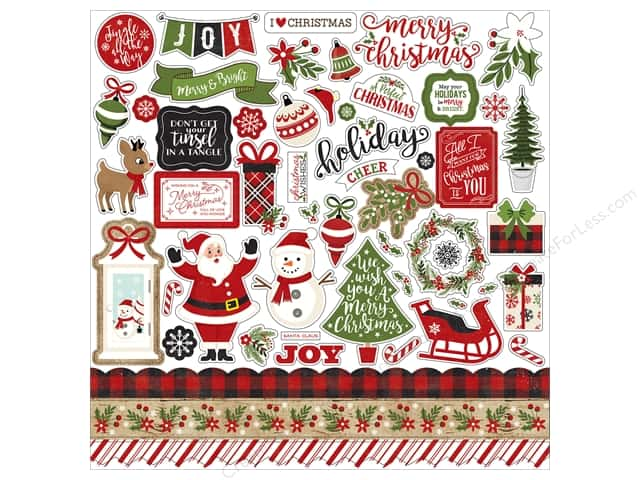 Echo Park Collection A Perfect Christmas Sticker Elements 12 in. x 12 in. (15 pieces)