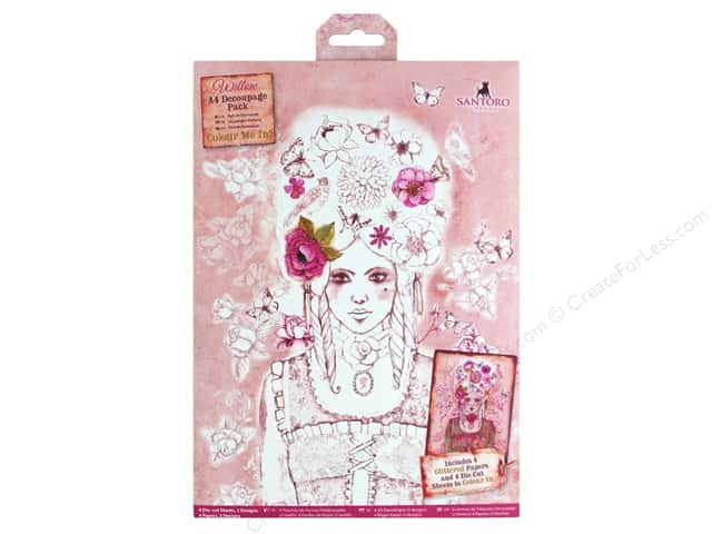Docrafts Santoro Willow Colour Me In Decoupage Pack A4