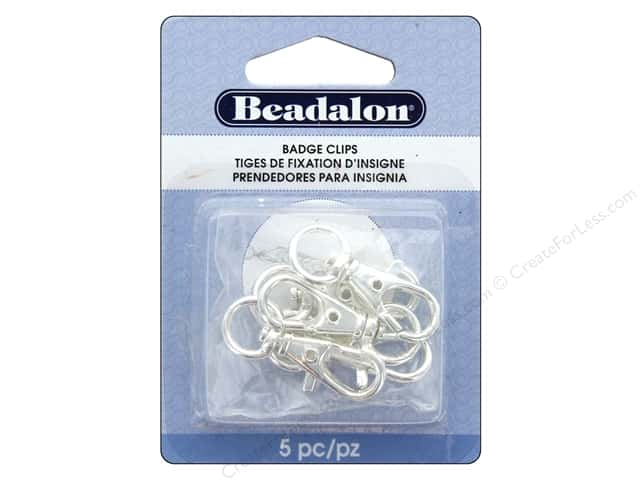 Beadalon Findings Badge Clip With Swivel 32mm Silver Plate 5pc