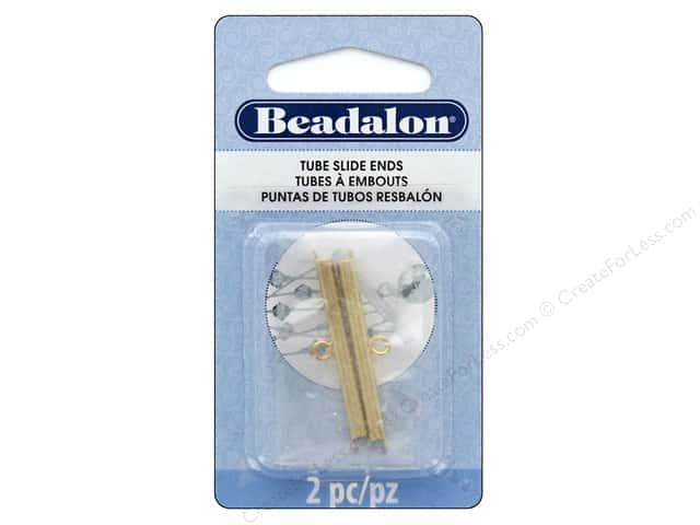 Beadalon Findings Tube Slide End 36 mm 2 pc Gold Color