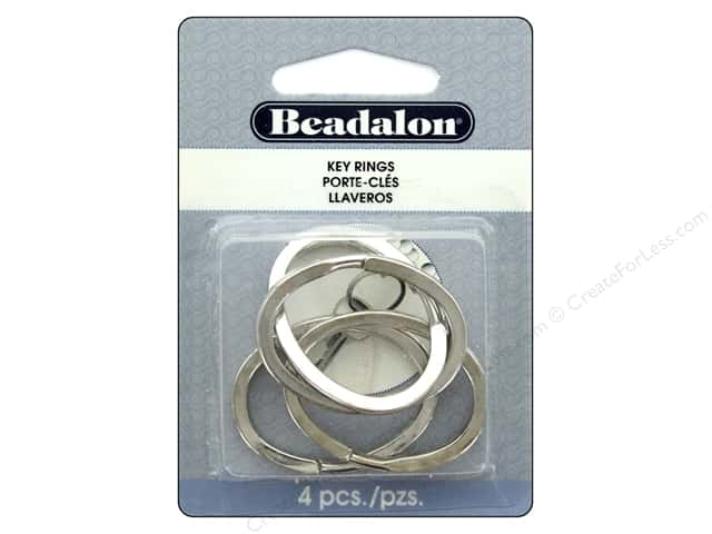 Beadalon Findings Key Ring Oval 37 mm x 28 mm Silver Color 4pc