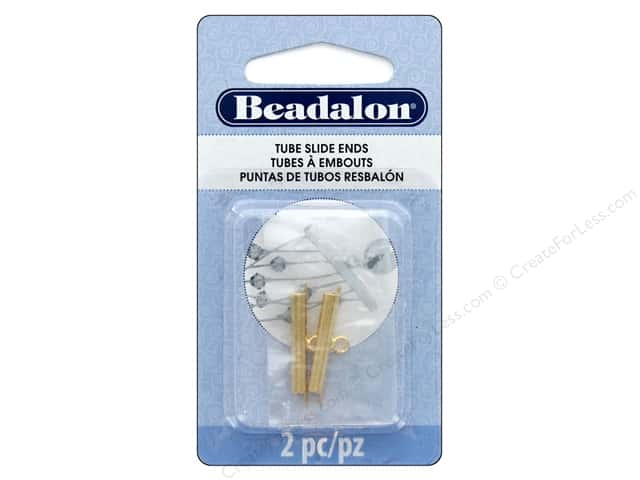 Beadalon Findings Tube Slide End 23cmm 2cpc Gold Color