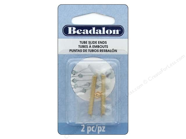 Beadalon Findings Tube Slide End 30 mm 2 pc Gold Color