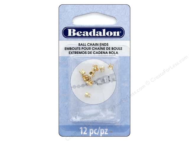 Beadalon Findings Ball Chain Ends 2.4 mm Gold 12 pc