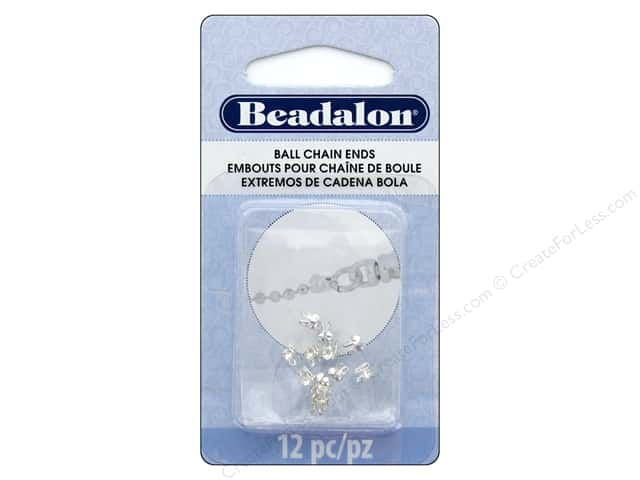 Beadalon Findings Ball Chain End 2.4 mm Silver Plate 12 pc