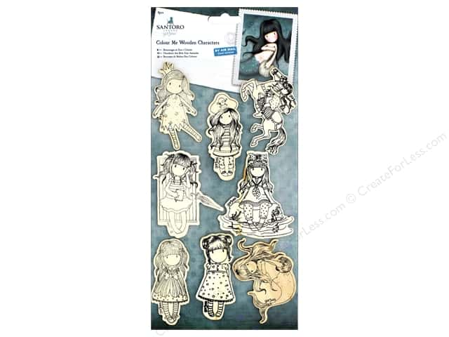 Docrafts Santoro Gorjuss Color Me In Wood Characters 8 pc
