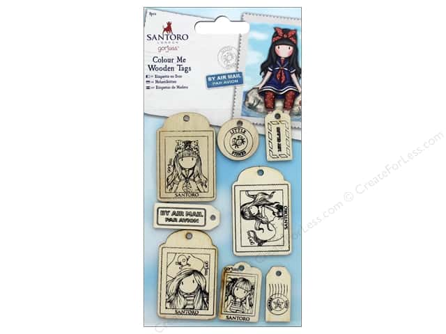 Docrafts Santoro Gorjuss Color Me In Wood Tags 8 pc