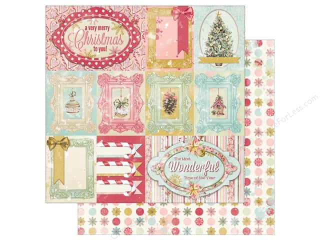 """Bo Bunny Carousel Christmas Paper 12 in. x 12 in."""" Greetings (25 pieces)"""
