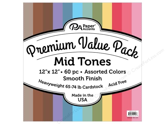 Paper Accents Cardstock Pack Premium 12 in. x 12 in. Assorted Smooth Mid Tones 60 pc