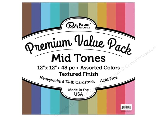 Paper Accents Cardstock Pack Premium 12 in. x 12 in. Assorted Textured Mid Tones 48 pc
