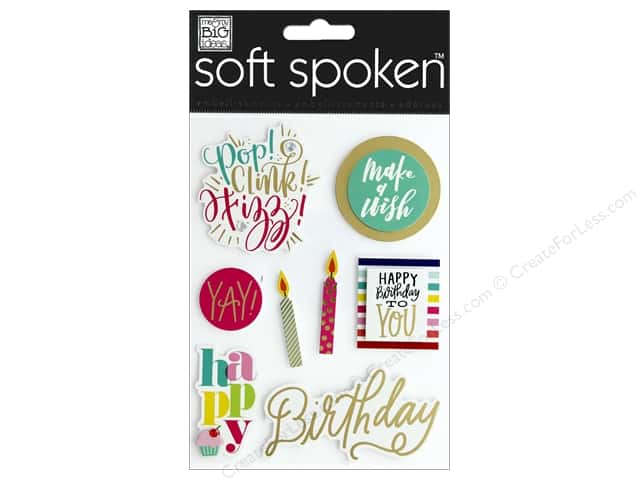 Me & My Big Ideas Sticker Soft Spoken Make A Wish Birthday