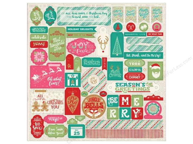Authentique Collection Colorful Christmas Sticker 12 in. x 12 in. Detail (12 pieces)