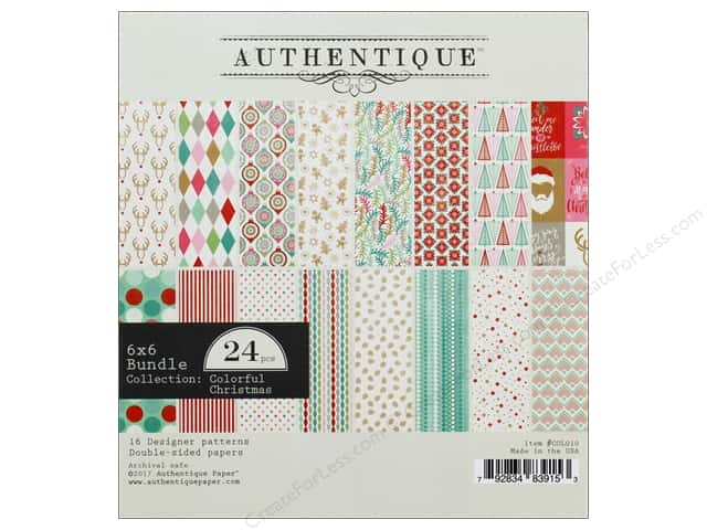 Authentique Collection Colorful Christmas Bundle Pad 6 in. x 6 in.