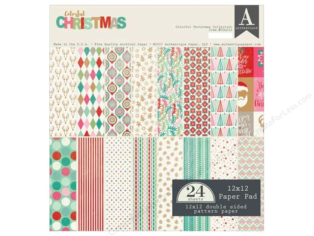 Authentique Collection Colorful Christmas Paper Pad 12 in. x 12 in.