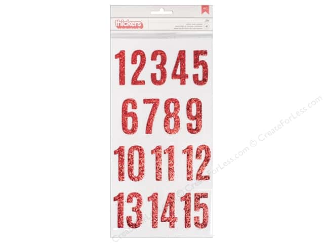Pebbles Merry Merry Thickers Sticker Jen Red Glitter