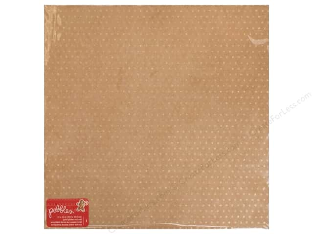 Pebbles Merry Merry Paper 12 in. x 12 in. Gold Glitter (15 pieces)