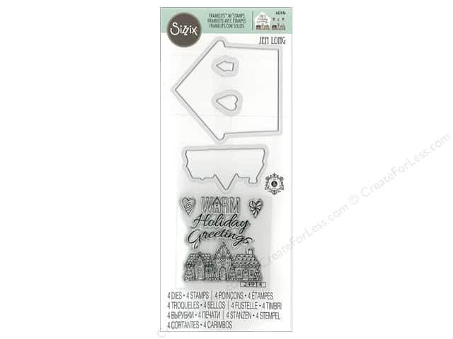 Sizzix Die & Stamp Jen Long Framelits Warm Holiday Greetings