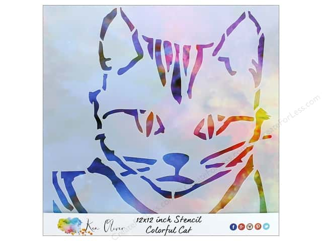 Contact Crafts Ken Oliver Stencil 12 in. x 12 in. Colorful Cat