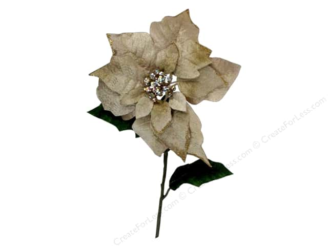 Sierra Pacific Decor Stem Poinsettia With Jeweled Center Gold Edges Cream