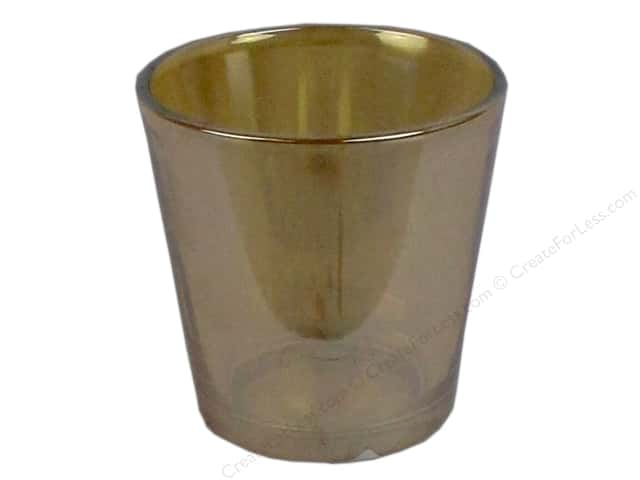 Sierra Pacific Crafts Decor Glass Candle Holder 3 in. x 3 in. Mercury Cup Metallic Amber