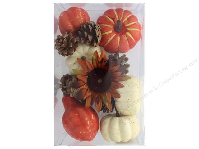 Sierra Pacific Crafts Decor Filler Pumpkins, Gourds, Pinecones Orange