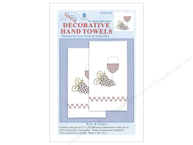 Jack Dempsey Decorative Hand Towel Wine & Grapes 2 pc